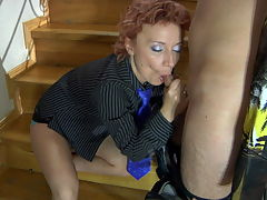 Isabella and Jack red hot mature action : Redhead Isabella is a cougar after young Jack and he and aposs after her hot mature pussy and her big juicy tits is where he and aposs going to start on the stairs here. Her has that tight mature box and she is itching to get his stone rigid dick deep inside her wet hot snatch and he isn and apost going to turn her down. The horny mature bitch jumps on his boner giving him a big time blowjob so he and aposll be ready to plow into her hot mature pussy. Soon the lad and aposs hard young cock is pounding the fuck out of moistened sweet pussy until they both cum.