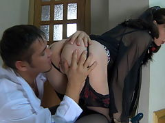 Olivia and Govard leggy mom in action : In chair by the stairs, Olivia throws her nasty mature cunt up in young Govard and aposs face so she can get some of his hard young cock. The lad sees the opportunity and stuffs his blood filled cock in her face and plays with her big juicy tits getting ready for what and aposs to come. She gobbles his rock hard boner and loves the fact she and aposs finally gotten her lusty toy boy all her own. He knew she blew that young dick and now that he is ready he stuffs his boner into moistened sweet pussy.