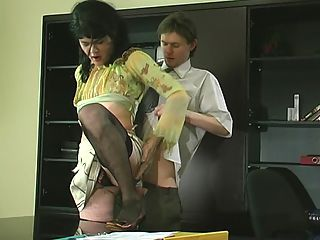 Ernest and Morgan gay sissy movie : Black lacy nylons, a silky blouse and a flying skirt transform a guy into a sissy office girl. This girlie assistant is not only pretty, but also very qualified, well, at least in giving head and taking it up the brown. Watch him showing off his professional skills right on the desk in the office.