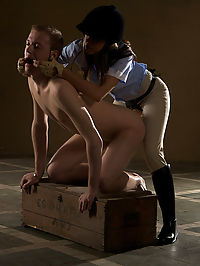 Riding Mistress fucks stableboy up his ass.