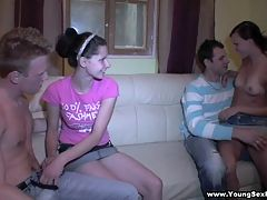 Teens fuck like on a contest nasty hardcore sex : A few drinks and a couple of eager teen girlfriends turn this home party into a foursome fuck fest with two lucky dudes banging hotties in turns and together.getting their cocks sucked all over the room and giving the chicks multiple cumshots. They wanna find out who fucks best and they got the whole night ahead of and aposem to complete this nasty hardcore sex competition.
