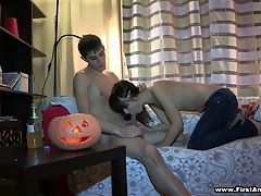 First anal sex on Halloween : Anything can happen on Halloween and even this shy 18 y.o. chick finally decides to try anal sex with her ever horny boyfriend. She starts it all with a killer blowjob sucking cock good to prepare it for her tight virgin ass hole,then follows with getting anally fingered and taking some great backdoor fucking in various positions. Doggystyle or not - this inexperienced teen cutie enjoys every moment of it with totally new deep and extremely powerful sensations and emotions that make her cum.