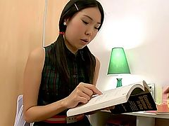 Asian babe doing her homework : Slim and playful Mey likes English lessons but she likes even more when the tutor is hunky and has a fat dick which is so tasty to suck. Her trimmed pussy becomes juicy and dictates its will to her pretty head. They try different sexual positions and finish pounding doggy style. As soon as he is ready to cum she turns her head to him and takes all his sticky jizz in mouth.