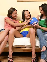 Ashlie, Tasha and Nadina - Tempting teen trio licks and dildos