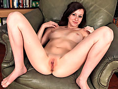 Fresh faced model strips her curvy body naked and fucks her wet pussy with a dildo while a vibrator penetrates her tight little ass