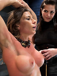 Lesbian Slave Training Ariel XFeatured Trainer Bobbi Starr : Bobbi is here to show 010 some humility. 010 is known for being one of the most athletic models at Kink.com. She is fit and trained in MMA, so she knows how to defend herself. Bobbi starts by making her stand there and be physically pushed around. Her face shows frustration as she is shoved and when Bobbi sees this she takes 010 to the ground and climbs on top of her. She then rains down brutal and sadistic punishment. 010 attempts to defend herself, but the point of this is to show submission.Now suspended in a hogtie, she is defenseless against Bobbi and her massive strap on cock. 010 has a high opinion of her ability to suck cock, so Bobbi puts her to the test. Its quickly apparent that she does not live up to her said ability. After toying with her for a bit Bobbi fucks her in to oblivion, pushing her closer and closer to an exploding orgasm, only to deny her in the end.Bobbi moves on to test her pain management by abusing her pussy while she is bound in a pile driver position. Flogging, slapping, clamps and the cattle prod are used to tenderize her pussy. More foot torment is issued and then Bobbi sadistically tortures her body with a cattle prod until 010 proves her toughness by taking the cattle prod to her pussy. She is now allowed to cum as much as she wants with Bobbis fist inside of her abused pussy.