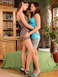 Kari and Caprice - Gorgeous brunettes strip and lick