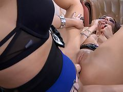 Mireille and Aubrey nasty anal lesbian action : Watch in amazement as these backdoor lesbian fuck sluts Mireile and Aubrey break out their savage big strap on dildo and get busy working those steaming tight butts of theirs. Soon they and aposll be cumming in waves with that wild hot anal lesbian sex that they and aposre horny for. These two nasty lesbian babes get busy with some sloppy hot cunnilingus and feeling each other up that pleases them both.
