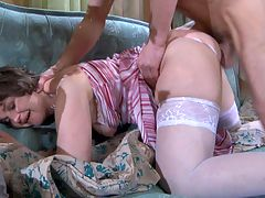 Leonora and Herbert hardcore mature video : Horny office mom Leonora needed moistened sweet pussy fucked stupid and she pounced on her friend and aposs son Herbert and gobbled that fat juicy dick of his in her living room. The old girl lives on a diet of a fat juicy nut daily and dude now has his mature fuck lover and aposs tight hot pussy and dick crushing shithole to fuck until her warm motherly vagina spritzes pussy juice all over.