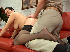 Elsa and Lucas hardcore mature video : Check out how this mature fuck lover and aposs got this dude Lucas captured after she blew that young dick! Elsa and aposs her name and she loves her wet hot snatch fucked to the brim with a throbbing boy dick and as soon as he and aposd got a hardon he became her fuck toy. She dominates his pulsing fat dick and the lusty toy boy lavishes over her delicious big boobs. Finally on the red sofa he slams his fat juicy dick deep into her hot mature pussy and they both climax furiously.