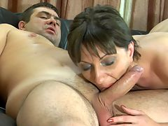Linda and Bobbie red hot mature movie : Sexy Linda always enjoys some throbbing boy dick when she can get it and young Bobbie with his rock hard boner who came over for a visit will do just nicely. He always wanted some hot mature pussy but never got the chance until now. She wasted no time taking advantage of his thick meaty member so she could get some of his sticky salty sperm and the filthy mature whore worked hard to get her reward.
