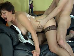 Elsa and Vitas nasty mature video : Young Vitas didn and apost know horny mature bitch Elsa was such a turn on but soon she had his hard young cock in her horny clutches and wanted nothing more than to have him pound her hot mature pussy. When she got him on the couch the two started licking and dicking and the brunette mom couldn and apost wait for her share of a hot wad of spuzz inside her dripping tight pussy.