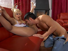Flossie and David awesome pantyhose movie : Fine looking blonde Flossie is one erotic and exotic leggy chick and she sure has lucky David on the pool table ready to stick his pulsing fat dick into any open hole she has. She has those delicate and sensual nylons and he finds that as a major turn on! The horny show off uses her sexy elegant nylons to get his dick good and hard and soon he and aposs plowing that sweet tight pussy!