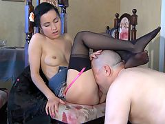 Veronica and LeonardB girl and oldman action : Horny Leonard B knows how to use his throbbing older dick on this cute brunette Veronica and soon she and aposll get a hot wad of spuzz to make her day. This nasty young slut starts blowing his blood filled cock and the sensation of her sucking his cock has him bucking for action. Soon hes slamming that thick meaty member into her nasty girl vagina so hard the cum squirts all over the room.