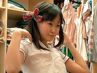 Sweet Asian teen performing solo : A search through her closet for the perfect outfit ends with one of the finest schoolgirl uniforms ever and on the tight Asian body of Ksu its doubly arousing. She takes her time getting all dolled up then turns her attention to the pleasure of the pussy, using her fingers and a toy to make her vagina sing with pleasure and cum hard.