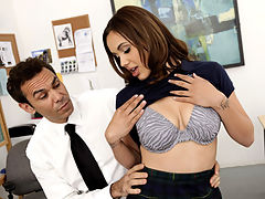 Payment Accepted : Cute brunette schoolgirl Sabrina Taylor gets fucked on top of the table by her school teacher
