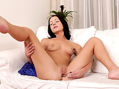 Petite first timer strips her tight body naked and shows you how she likes her needy pussy fucked by demonstrating with a glass dildo