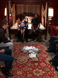 Hot Fiance Spies on her Grooms Bachelor Party and Gets Punished : Beretta James lives out a personal fantasy of spying on her Fiances bachelor party and getting punished! When she sees her future husband getting a lap dance from two sexy strippers she gets fed up and burst out from her hiding spot behind the curtain. Not willing to give up on their night of debauchery the guys turn her into their personal play thing! She is tied up and face fucked, then fucked in every hole by her groom and his friends. They even stuff two dicks in her tight pussy. This is a bachelor party that no one is sure to forget!