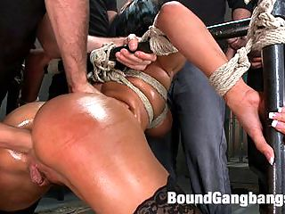 Giant Natural Boobs get Tied up Tight and Gang Banged : Anissa Kate has a perfect body. Giant natural tits on a petite, flexible frame. In this fantasy update she comes to the armory for an interview with Donna and before she knows it find herself bound and hooded in a cage where she is made to service 5 cocks while her nipples are painfully clamped around the bars, preventing her from moving. Once she is let out her tits are bound tightly and oiled up and everyone takes turns fucking her perfect holes. She is stuffed airtight then tied down again with her legs held wide open so her pussy can get filled with cum! Strict bondage, rough sex, creampie in bondage, dp, and more!!!