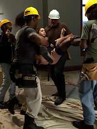 Hot Redhead Cici Rhodes Fucked by Hard Cock and Construction Tools : Disgruntled construction workers give their boss whats coming to her in this brutal free-for-all of hard hats and hard cocks!HUGE black Cocks stuffed in her mouth keep her quiet while tool handles are shoved up her ass. The whole crew takes her in the ass, pussy, and mouth. Then they show her whos boss by cumming all over her pretty little face.