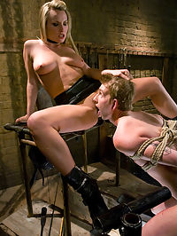 Bitch-boy Hunting : Mistress Harmony Rose has been tasked with screening potential bitch boys for a special project. She examines Dean Strong but gets a litte sidetracked during the evaluation...