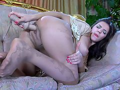 Jen nylon feet action : You and aposre gonna pop a boner now that Jen is showing off in her sexy nylon feet on that gold frame sofa. She really wants your thick meaty member to slide between her feet in nylons and she and aposll warm up with her dildo to tease you. Her sweet little feet play with her dildo and she uses her sexy nylon feet to tempt you to bust a hot wad of spuzz to flow like orange juice all over them.