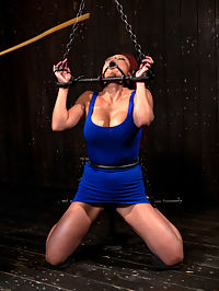 Voluptuous Mia Lelani is pushed to the limit. How much torment can she take? : Watch as sexy Mia Lelani is pushed to the edge of her limits. In the first scene she is chained, caned, and finger banged until she begs for mercy. The unique mouth-stretcher is particularly diabolical! Her juicy tits and sensitive nipples get special attention and torment. Will she be able to handle it?In scene two Mias arms and legs are curled up and contorted while her head is locked tightly in stocks. We explore the dark relationship between pleasure and pain as she is whipped and finger-fucked until she squirts.We save the best for last with a very dramatic pose. Immobilized by leather strapping, Mia is perched on a vertical fucking machine that jack-hammers a dildo straight up her pussy from below. Her legs are spread open wide and her huge tits look lovely all bound up in leather. We bind her whole head in black bandaging so she cant see a thing.