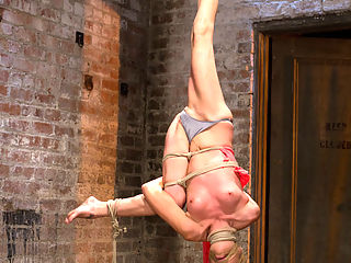 Amber Rayne Live Show Part 1 - Brutal Single Ankle Suspension : One of our best and most seasoned models on HogTied - Amber Rayne returns and gets her ass handed to her in challenging bondage and very hard orgasms.Amber is bound in what yoga people call a peacock pose first on the ground. With panty hose over her face, biting twine is applied tightly across her eyes, upper lip, and inside of her mouth. We get to see the bitch squirm as Claire clearly enjoys tormenting her with pain. Amber desperately tries to escape and Claire happily obliges by suspending her in an incredibly tough single ankle suspension by rope only - one of the most brutal suspensions we can subject a model to here on HogTied.Amber takes it like a champ enduring through the pain only to be pulled down onto her back and the cycle repeated again. Pain ramps up the orgasms, the orgasms make her body more sensitive, and the suspension makes everything else feel like a cake walk. She takes it, ends with a smile and asks for another.