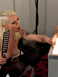 Electrified cock punishment by Mistress Lorelei Lee : Mistress Lorelei Lee gives Steve an electrified experience on his third day of training! Lorelei realizes his manners are no where near up to her standards and wires up his cock and sends pulses of electricity straight through it! All the other goodies you have learned to love are there too! Body worship, humiliation, spanking, a zipper, ass and pussy worship, using him as a human dildo and making him slurp up every drop of his cum!