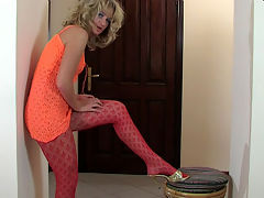 Gertrude pantyhose tease action : Blonde Gertrude is a hot nylon whore and she needs your blood filled dick fucking all her holes. She slides out of that orange skirt and into a variety of sleek smooth pantyhose and you know you can and apost resist this exhibitionist whore slut. Those seductive sheer pantyhose meet your fetish desires and she gets your dick good and hard to slam into her nasty hot bum! You can rock that nasty fudge tunnel so get your fat juicy dick ready and bang this broad!
