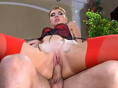 Aubrey and Herbert nasty nylon movie : Aubrey looks like a real temptress who loves wearing sexy lacy underwear with bright scarlet nylons to drive her lovers crazy. Today it and aposs Herbert who falls for the bait, as this hot babe parts her stocking clad legs going for a rousing lap dance. Then Aubrey peels off her thong and starts riding the guy and aposs hardened shaft. After that she blows him stiff and gets slammed really hard from behind.