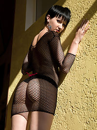 X as in sex : While some women feels hot and sexy on silky satin lingerie and dainty lace, Lyala prefers fishnet lingerie. Her smooth, fair body loves the tingling feeling of fishnet pressing on her sensitive skin. And when she wears them, you could expect that shell be feeling all erotic and horny all over. Fishnet mean sex and she knows shell definitely get a release.