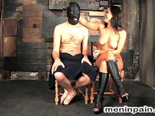 Painful Predicament : Mistress Sandra Romain taunts Lefty while he suffers in painful predicament with his hard cock tied to a wall and a hook up his ass pulling in the opposite direction.When the pain becomes too much, he is bent over and fucked up the ass to strip his manhood, and finally his cock is used and drained for Mistress pleasure.