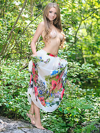 Adorable booby girl : Adorable teen honey with excellent long hair undressing and spreading her legs outdoors.