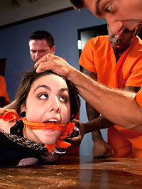 Prison Outreach Program - Starring Tegan Tate : Tegan Tate is a University student studying psychology, with a dream of changing the prison industrial system through modified therapy techniques. She enters a maximum security prison, and thinking that she knows what is best doesnt head the warning of the guards, and is soon left alone in a room of dangerous inmates. All 89 lbs of her cant do a thing to stop these giant thugs from having their way with her after the guards have left! They use makeshift bondage to restrain her tiny body and fuck every hole she has! This is her first gangbang and her first DP, EVER!!!!
