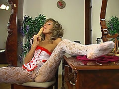 Nora in pantyhose action : MILF Nora sees you and aposve popped a boner checking her out in her lavender nylon seductive lacy pantyhose and this exhibitionist whore slut has an ass to die for. This nylon wearing slut has to have your blood filled dick deep inside her and those sensual dainty pantyhose are too tempting to deny. Being a fan of sexy lacy pantyhose you have to have your dick good and hard as she and aposs begging you for it!