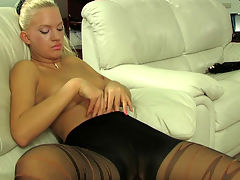 Trudy in great pantyhose video : Playing pool is this blonde Trudy the nylon wearing slut you see here needs her dripping tight pussy fucked into oblivion by you. She lives for a fat juicy nut to come spurting from your hard thick dick in all her holes. The exhibitionist whore slut is hot in her sleek smooth pantyhose and she and aposll finally get that sticky salty sperm from you in her tight twat and asshole.