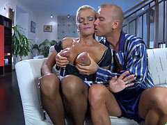 Hannah and Benjamin M gorgeous mom on video : Dressed in her French maid uniform, mature Hannah was serving coffee to young gent Benjamin when he decided he wanted a piece of ass. Hannahs sizable globes looked so yummy, the guy ached to touch and lick them too, and then he wanted to bang those luring milf beaver and butt. The spoilt rich guy made his older housemaid give him head before plowing both of her openings with such zest shed need a day off after that.