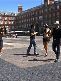Mi Amore! PD goes to Madrid : Ms Vega, a sexy, smoldering brunette gets invited to a mysterious rendezvous. What she doesnt realize is that her domineering lover has a nasty addition to her new sexy outfit. Decked out in a rubber pigs head he parades her on a leash through Madrid for all to see. This common barnyard whore is zipped to a fence and humiliated in front of a gathering crowd of curious tourists.Next she is strung up on a tree, beaten like a pinate and fucked until she squirts and creams. Next she is dragged to a cafe while her lover enjoys a cold beer and a throat pounding bubbling blowjob.