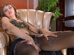 Aubrey in great pantyhose video : Of course Aubrey is dreaming about your thick meaty member so she and aposs posing on that big brown chair being the sexy long legged slut you want her to be. She and aposs got her sexy svelt sheer pantyhose on and her wet hot pussy is just thinking about you. She knows you and aposre hungry for some sensual dainty pantyhose and you and aposre dreaming about getting nasty together with her and banging that soft tight pussy and giving her some gooey white cum and making a mess of that room.