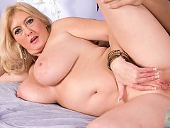 The super-busty MILF gets ass-fucked : At the 17-minute mark of this video, Tahnee says, I want you to take that cock and stick it in my ass and fuck me like the whore that I am. Now, Tahnee doesnt really think shes a whore. Its just that women sometimes say things when theyre in the heat of passion. And Tahnee isnt a whore. A busty old slut? Yes. Absolutely. No doubt about it. She has DD-cup tits. That makes her busty. Shes 47 years old. That makes her old. She loves having strange cocks in her mouth, pussy and asshole, and when shes horny, she goes for it. That makes her a slut. Im a shy girl, but I love getting fucked in my ass, Tahnee told us. To her stud, she says, Im a nasty little girl. A nasty big little girl. Its Tahnees tits that are big. The studs load is big, too. He shoots it into Tahnees open mouth, and she sucks the cum off his cock-head. Very nice. We asked Tahnee for the funniest pickup line shes ever heard, and she said, A guy once said to me, Hi. Im an astronaut and my next mission is to explore Uranus. Too late, buddy. The exploring has already been done.