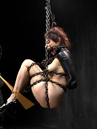 When Annika Met Jack : Beautiful pale Annika gets completely sexually pummeled with pain and pleasure by Jack Hammer. In scene one, she is installed in a latex corset, garter, stockings, bra, and gloves. Made to stand on metal poles, chain is tight around her thighs and affixed to a pipe a-frame. Jack torments her with a serious amount of corporal with tongue and nipple torment. In scene two, continuing the theme of suspension chain bondage, Annika is suspended in a chain only ball tie and a black latex box tie arm binder. Jack turns her into a pinata of pain and gets this bitch to squirt. In scene three, the former ballerina is placed with arms strictly back and on her tip toes with hard steel rammed into her cunt. Helpless to resist, Jack layers clothespins all over her body, only to remove them in the most uncomfortable fashion he can think of and all she can do is cum again and again from the pain and the pleasure.