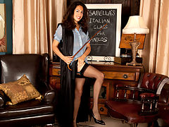 Sexy school teacher strips naked to finger her hairy twat