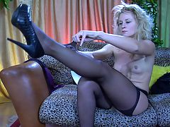 Gertrude featured in pantyhose video : Elegant Gertrude on the sofa wants your throbbing rigid dick and she and aposs posing in that mirror taunting you with that wet hot pussy of hers. This horny show off knows you and aposre turned on by sensual dainty pantyhose and that should get you to pop a boner and jump all in that soft tight pussy of hers. It and aposs your blood filled dick she really wants and this nylon wearing slut is going to be all yours.