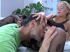 Sandy and Gerhard pantyhosing on video : Blonde Sandy looked sexylicious in her satin lingerie with matching dark fashion pantyhose, so Gerhard just couldnt help wanting to lick and fuck her. He worshipped her nylon clad ass and thighs before finally diving into her delicious pussy hole with his tongue. Then he ground his big boner against her pantyhosed legs before pushing it into her snatch through Sandys crotchless pantyhose.