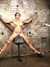 Felony - Amazing MILF Squirter : Welcome back Felony for another round of HogTied sexual torment and intense bondage. In scene one, Felony is precariously perched in a kneeling position with her elbows tied tight against her back and breasts up to the pulley. Claire beats her breasts and squeezes out intense orgasms from Felony. In scene two, she is bound pile driver style. She cums so hard she squirts all over her face and tits like a rain storm. In scene three, she is suspended in an intense back arch crucifixion suspension with her feet almost touching her shoulders. In the final scene, she is bound spread eagle and rides the sybian for dear life. Watching her orgasm is intense. Her body involuntarily contracts, drool shines her breasts, she speaks in a language unknown to us, forgetting everything and just cumming