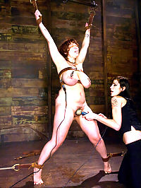 34 Fs!!!!!!! Big Natural Tits gets tied and shocked!!!! : Mariah Cherry is a local model with enormous natural breasts. They were so big I had to have Matt come down and help me tie them up for one scene. If you are a fan of big natural tits, then you will be a fan of Mariah for life. She gets put through the paces in this shoot with shaving, clothespins, the violet wand, acrylic dildos, fisting, and very intense breast bondage!