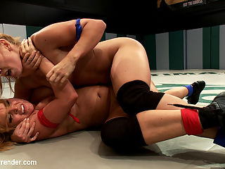Lea Lexis, blonde romanian rookie takes on big titted Krissy Lynn! : Two crazy cunts turn this mat into a sweaty tit brawl!!! With plenty of pussy fondling, whorish gymnastics, bitch-slapping and ass play. Stick around for the fourth round to find out who surrenders in the best unscripted Lesbian wrestling site on the web!!!