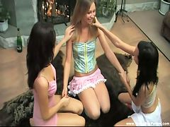 Three teen cuties share cock : These eager teen hotties love nothing more than having some drinks, partying and sharing cock and they don and apost mind throwing in some lesbian fun to make their home sex party even more exciting. The lucky dude just can and apost get enough of teasing and drilling their sweet dripping wet pussies and the ladies respond by making him cum harder than ever before.