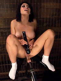 18yrs OLD NEW to PORN Never Seen a Machine Fuck and Now its in Her Pussy : Raven is 18 and has no idea what the hell she is getting herself into but doesnt care. Shes young and wild and free to do what she wants and she choose to do that here with hard cold steel and a bunch of pervs who want to see cum squeeze out of her tight slit. And that is exactly what happens - Raven creams from getting pounding and nice long streams of cum drain out of her pussy when the cocks come out. She absolutely loves to fuck and we absolutely love to tire out 18 year olds - it makes us feel young - so what if we have to use 4 machines and two vibrators to do it. Age wisdom! Also debuting at Kink.com today is a great little hand held machine from X. Treme Orgasmatroinics. We have the X1 Orgasmatron and it works like a hot damn warming up Ravens pussy and clit. Thanks Dr. X!